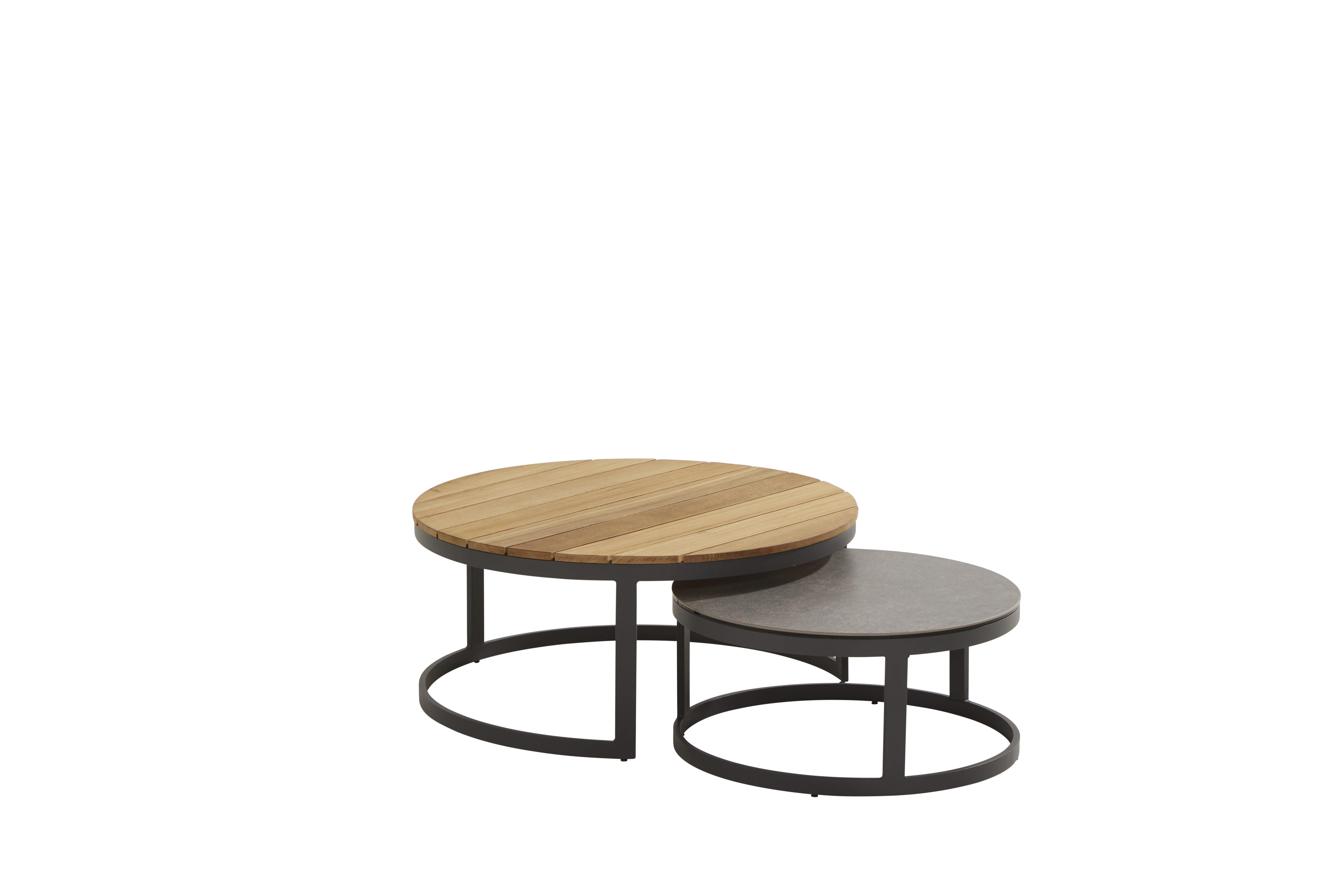 91024_ Stonic set of 2 coffee tables 80 and 60 cm teak and ceramic-1